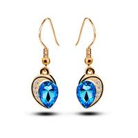 New 2015 crystal earring fashion Popular Korean jewelry earrings temperament Austrian crystal earrings gift