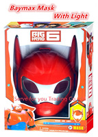 With Light  Big Hero 6 Mask Action figure PVC Mask Cosplay mask accessories Nice Christmas Gift for children free shipping