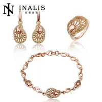 S267 Factory 18K Gold Plated Austrian Crystal Nickel and Lead Free Jewelry Sets For Women Wedding Party