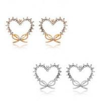 fine jewelry Love crystallization Crystal bow earrings - Heart with knot rhinestone earrings