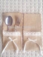 Rustic Wedding Burlap Ribbon Silverware Holder Pocket/ Hessian wedding crafts decor Kitchen Cutlery Pocket Knife Fork holder