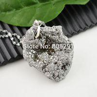 Free Shiping! 8pcs Druzy Drusy Quartz Stone Charms Pendant Jewelry Finding