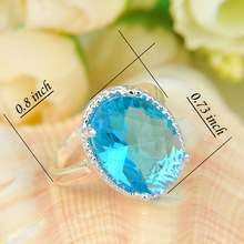 Newest Oval Crystal Fire Sky Blue Topaz 925 Sterling Silver Wedding Jewelry Rings Russia Rings Australia
