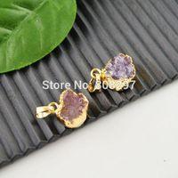 Druzy 5pcs Gold Plated Edge Round Shape Amethyst Drusy Quartz Stone Charms Pendant Finding