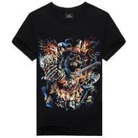 New 2015 Casual Men's Wear 3D Printed ROCK Guitar Men T Shirt,Hip Hop Creative One-Neck T Shirt