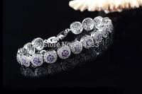New arrival exquisite amethyst purple zircon bracelet & bangle link zirconia bridal wedding jewelry for women