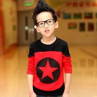 8-16 years old Zhongshan University Tong Chunqiu hot stars long sleeve t-shirt plus velvet sweater boy bottoming shirt Children