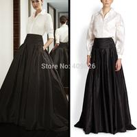 Simple Elegant Hepburn Retro Style Wide Shirring High Waist Little Black A-Line Maxi Skirt Floor-Length Vestido de Festa Longo