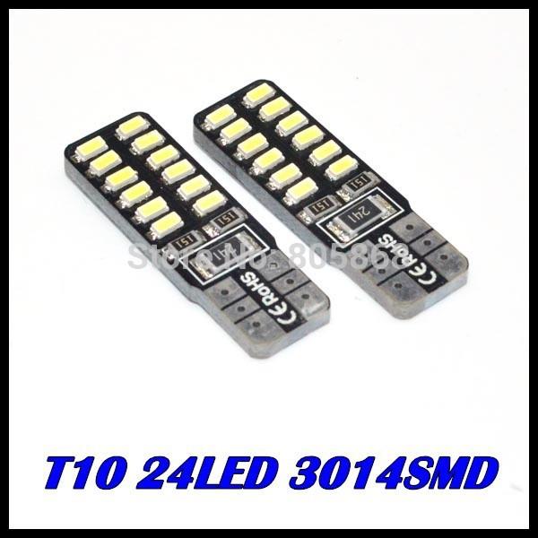 Vente en gros t10 canbus led 24 led 3014 t10 smd led canbus voiture smd lumière + w5w 194 24 smd ampoule led aucune erreur obc et 10pcs/lot