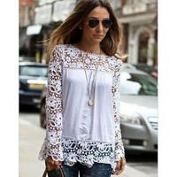 2015 Spring White Blue Women Blouse Crochet Floral Full-Sleeve Chiffon Blouse Lace Causal Shirt Blusas De Renda Camisa Feminina
