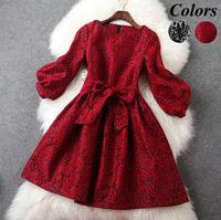 European High End Designer Boutique Dress Women's Cute Three Quarter Puff Sleeves Full Lace Bow Sashes Mini Dress Black / Red