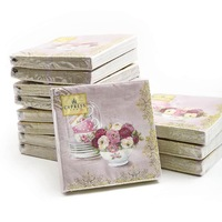 [12 packs]100% virgin wood pulp food-grade printed paper napkins wedding paper napkin colorful tissue paper serviette-4NC4062
