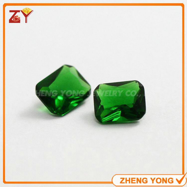 Synthetic Green Glass Stone 6*8mm Rectangle Chamfer Princess Cut Loose Gemstone Beads(China (Mainland))