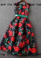 Free shipping women ladies vintage o-neck sleeveless print oil painting princess t2722 party casual dress wholesale va1807