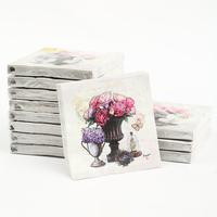 [12 packs]100% virgin wood pulp food-grade printed paper napkins wedding paper napkin colorful party paper serviettes -4NC4774B