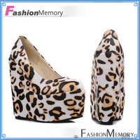 Leopard Print High Heels Platform Pumps Fantastic Solid Round toe Pretty Wedge Shoes Ladies Pumps Shoes 2015