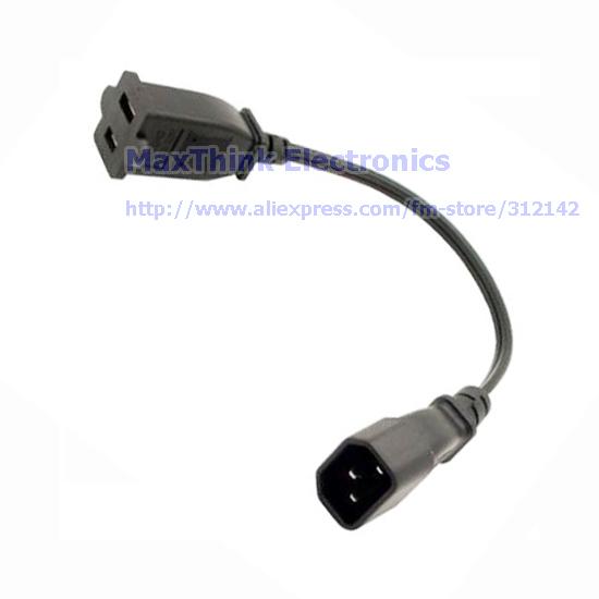 IEC 320 C14 Male to Nema 1-15R USA 2 Pin Female Power Adapter Cable, PDU UPS Power Cord ,5pcs Free shipping(China (Mainland))
