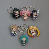 Anime Cartoon Sailor Moon keychain Tuxedo Mask Key Chain Key Set of 6 Ring Action Figure toy Plastic Dolls