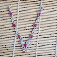 Derongems_Fine Jewelry_Natural Ruby Elegant Butterfly Party Necklace_S925 Silver Ruby Stone Necklace_Manufacturer Directly Sales