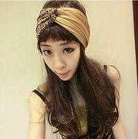 2015 new women elastic spandex leopard twist headband turban, double layer seam inside