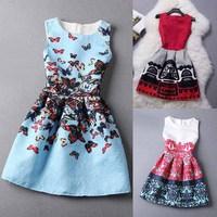 [SEKKES] 2015 Summer Women Casual Dress Cozy Fashion Dress Retro Digital Printing Ball Gown Dress Vestidos Femininos X01