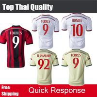 Free Shipping 2015 AC MILAN Soccer JERSEY EL SHAARAWY TORRES MONTOLIVO HONDA Thai Quality 14 15 AC Milan Jerseys Football Jersey