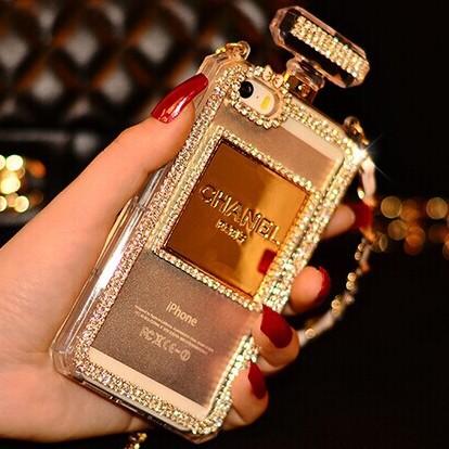 2014 Luxury Perfume Bottle Chain case For iphone6 6plus 5 5s 4 4s galaxy samsung S4 S5 note 2 3 Handbag TPU diamond bling cover(China (Mainland))