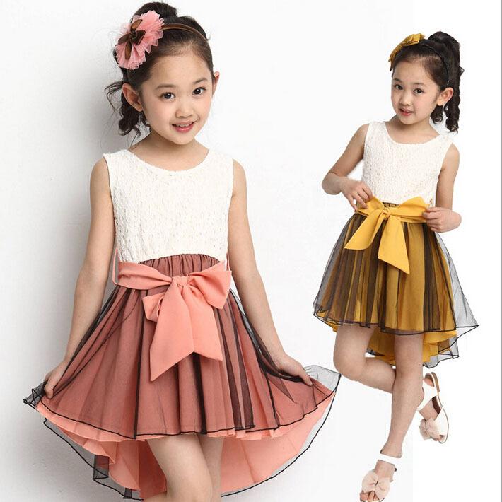 2015 New Big Girls Sleeveless Formal Summer Dress Fashion Girls Lace Dovetail Ribbons Chiffon Bowknot Dress for Weddings, YC019(China (Mainland))
