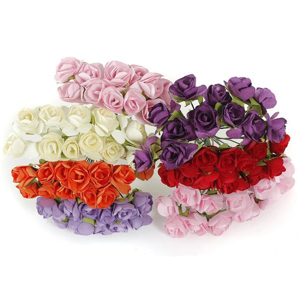 2015 Valentine Gift  144Pcs  Petite Artificial Paper Rose Flower Bouquet Wedding Decor Scrapbooking(China (Mainland))