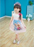 BD170 2015 Hot sale little girl's clothing sets 2pcs for summer frozen children dresses kid's dress retail and wholesale