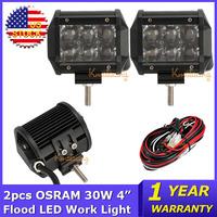 OSRAM 2x30W 4 inch LED Work Light 12V 24V Flood Beam Offroad Led Light Bar Trucks Wagon ATV SUV 4x4 Driving Lamp Led Fog Lights