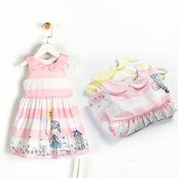 rustic lace flower Children dresses 2015 kids girl dress baby girl dresses Girls new Flowers splice lace cotton dress 4662