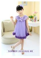 2015 summer big girls Flower princess dress children lace collar bow Stereo petals dress kids lace tulle dress purple pink 4660