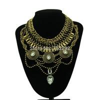 2015 Fashion Boho Style Exaggerated Multilevel Chain Statement Necklaces Women Evening Dress Jewelry Choker