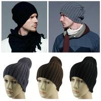Unisex Men Hip-Hop Warm Winter Wool Knitted Ski Beanie Skull Slouchy Cap Hat Free Shipping