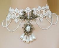 WHOLESALE vintage lace punk collar,white pearl + white lace choker FREE SHIPPING
