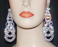 2015 Luxury New Clip Earing Wedding Bridal Rhinestone Crystal Long Evening Silver Gold Dangle Chandelier Drop Earrings DE102