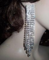 """2015 Luxury New Clip Earing Wedding Bridal Rhinestone Crystal 5.5"""" Long Silver Gold Dangle Chandelier Drop Earrings Jewelry"""