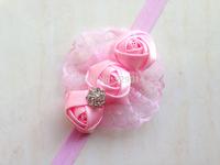 wholesale 20pcs/lot  Hair accessories Infant toddler baby girls mix rosette flowers tiaras elastic handband children band