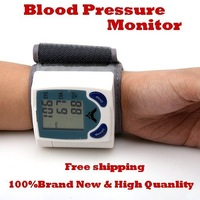 Home Digital Wrist Blood Pressure Monitor and Heart Beat Measure Meter Tester With LCD Display ,100pcs/lot free Ship dhl