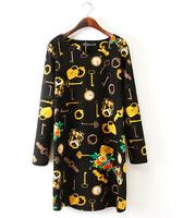 Women Dress 2015 Vestidos Cute Color key Print Long Sleeve Dress Casual OL Lady Loose Brand Party Dresses Plus Size XL XXL XXXL