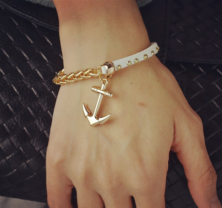 Wholesale New Fashion 18K gold filled leather rope chain anchor charm bracelets Valentine's Day gift for women B3217(China (Mainland))