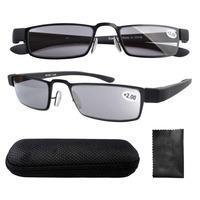 R11031-Gray Lens Eyekepper Black Frame Rubber Plastic Temple Tinted Gray Lens Sun Reader Reading Glasses