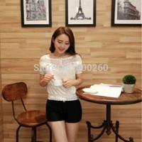 New 2015 summer lace tops fashion Blouses women Short sleeved chiffon shirts small Embroidery chiffon blouses free shipping