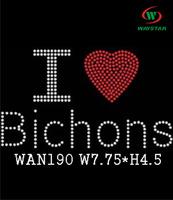 Free ship!30pc!I love Bichons design hotfix rhinestones heat transfer rhinestone DIY motifs rhinestones WAN190
