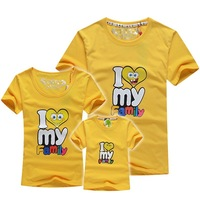 retail family set t shirt parents-children tees 2015 summer I love my family tees Mum+baby+dad t shirt EF60