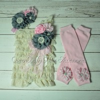 4 set/lot Ivory Baby Girl Lace Romper Set Matching Headband Leg Warmers and clip birthday outfits