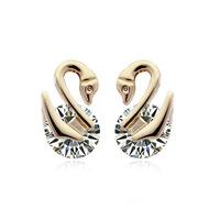 Fashion earrings Double Swan zircon earrings fashion earrings Korean women rhinestone earrings