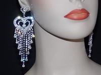 2015 Luxury New Clip Earing Wedding Bridal Rhinestone Crystal Long Silver Gold Heart Dangle Chandelier Drop Earrings Jewelry