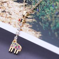 necklace vintage fashion jewelry pink necklaces acessorios jewelry Rhinestone pendant necklace fashion jewelry giraffe